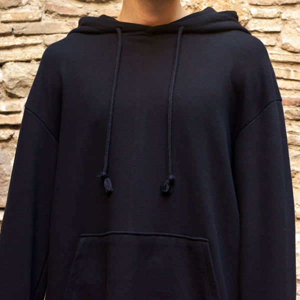 YUIKI SHIMOJI UNISEX OVERSIZE HOODED SWEATSHIRT BLACK BLUE FACE - DOSHABURI Shop