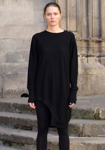 FIRST AID TO THE INJURED CRURA ASYMMETRIC LONG KNIT SWEATER BLACK - DOSHABURI Shop