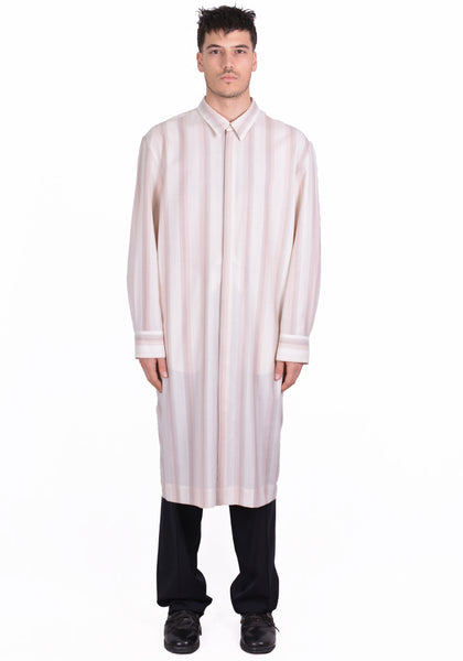 OVERCOAT S20T01L-NKWGS DROPPED SHOULDER LONG SHIRT BEIGE STRIPE - DOSHABURI Shop
