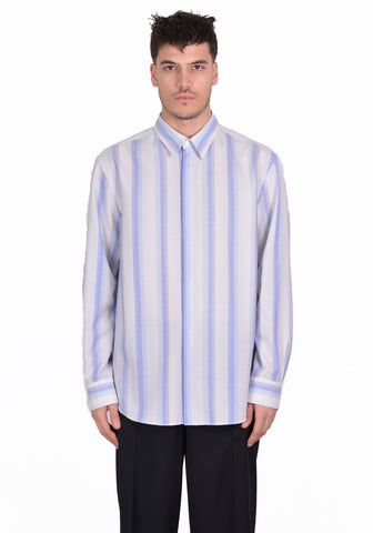 OVERCOAT S20T01-NKWGS DROPPED SHOULDER SHIRT BLUE STRIPE - DOSHABURI Shop