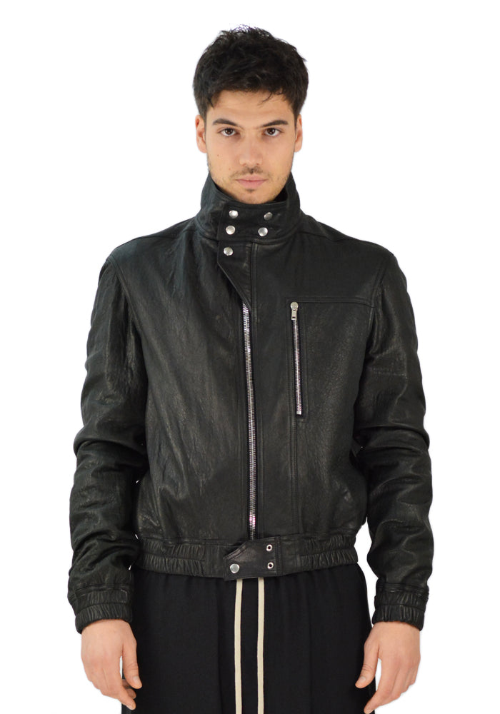 RICK OWENS RU20S7795 LWL IES LEATHER BOMBER JACKET BLACK - DOSHABURI Shop