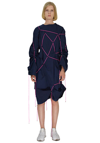 AFTER HOMEWORK TABITA LONG SLEEVE CORD DRESS NAVY - DOSHABURI Shop