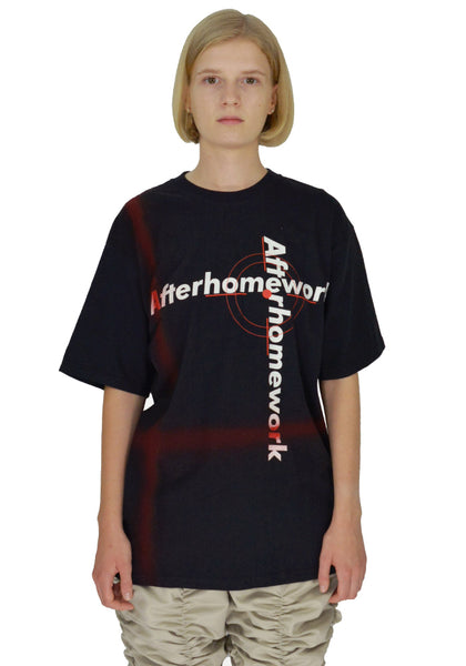 AFTER HOMEWORK TAG PRINTED T-SHIRT BLACK - DOSHABURI Shop