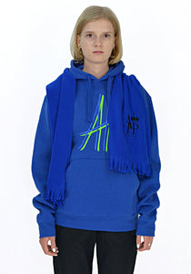 AFTER HOMEWORK PIERRE LOGO SCARF SWEAT HOODIE BLUE - DOSHABURI Shop