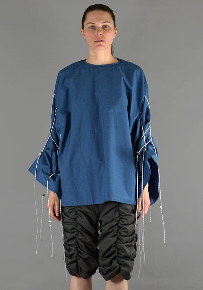 AFTER HOMEWORK UNISEX SIA LONG SLEEVE TOP W/CORD ON THE SLEEVES BLUE - DOSHABURI Shop