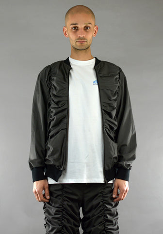 AFTER HOMEWORK UNISEX LIGHTER GATHERED BOMBER JACKET DARK GREY - DOSHABURI Shop