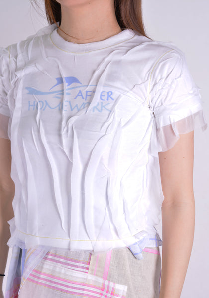 AFTER HOMEWORK VOILE1 WOMENS T-SHIRT WHITE W/WHITE VOILE - DOSHABURI Shop