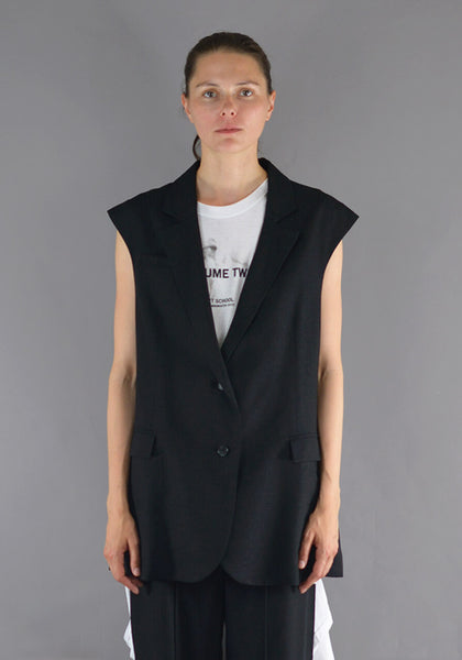 ART SCHOOL MJCKT003 OVERSIZED TAILORED SLEEVELESS SUIT JACKET BLACK - DOSHABURI Shop