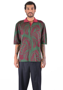 BIELO CAROL KNIT POLO SHIRTS BURGUNDY/GREEN - DOSHABURI Shop