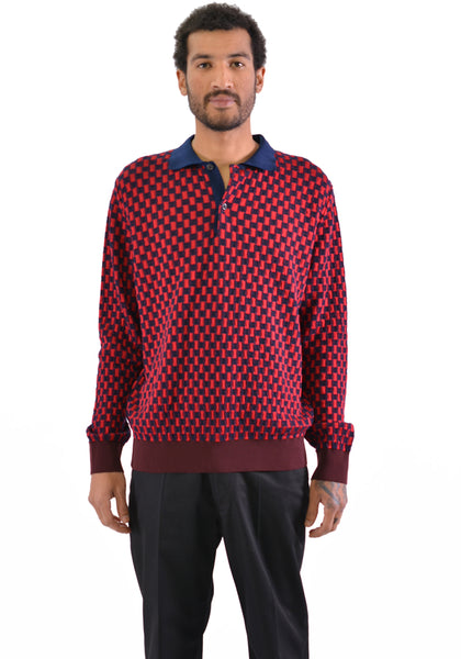 BIELO PULAR KNIT LONG SLEEVES POLO SHIRT NAVY/RED - DOSHABURI Shop