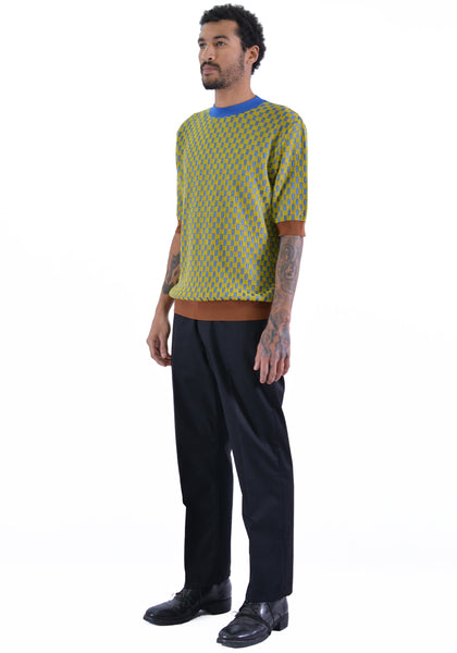 BIELO PUL KNIT T-SHIRT BLUE/LIME - DOSHABURI Shop