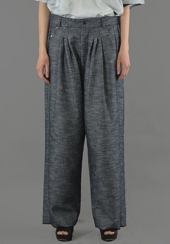 BLESS N°64 UNISEX ULTRA WIDE PLEATED TROUSERS DENIM BLUE - DOSHABURI Shop
