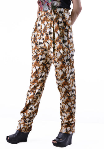 BLESS N°67 3069 C5166 LONG PLEATS TROUSERS ANIMAL WISH - DOSHABURI Shop