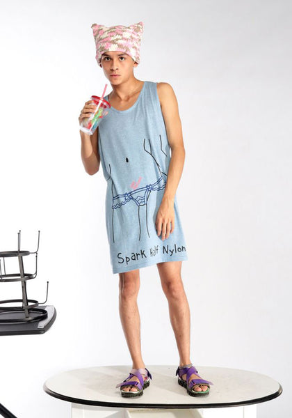 BERNHARD WILLHELM S20//30_SH LONG TANKTOP LIGHT BLUE - DOSHABURI Shop