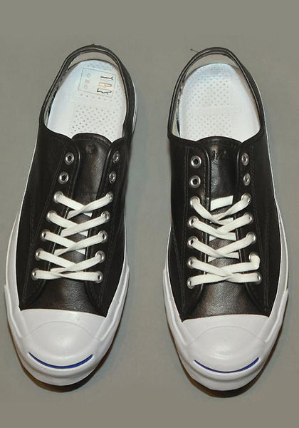CONVERSE JACK PURCELL SIGNATURE LEATHER SNEAKERS BLACK - DOSHABURI Shop
