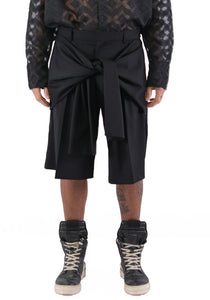 CMMN SWDN M16W519 TAILORED TYE KNOT SHORTS BLACK - DOSHABURI Shop