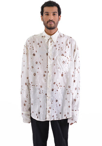 CMMN SWDN M16W667 BAS BURNOUT SHIRT WHITE/BROWN - DOSHABURI Shop