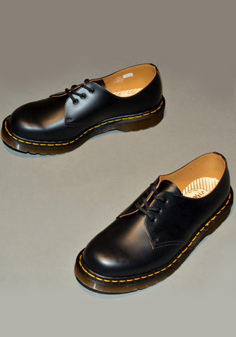 DR. MARTENS VINTAGE 1461 LEATHER SHOES BLACK QUILON MADE IN ENGLAND - DOSHABURI Shop