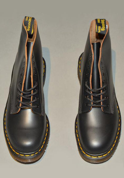 DR. MARTENS VINTAGE 1460 LEATHER BOOTS BLACK QUILON MADE IN ENGLAND - DOSHABURI Shop