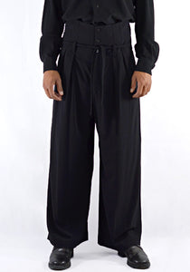 ETHOSENS E219 702 EMBOSSED HIGH-WALSTED SLACKS PANTS BLACK - DOSHABURI Shop