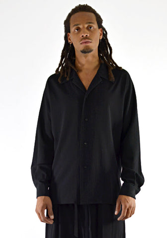ETHOSENS E219 205 EMBOSSED OPEN COLLAR SHIRT BLACK - DOSHABURI Shop
