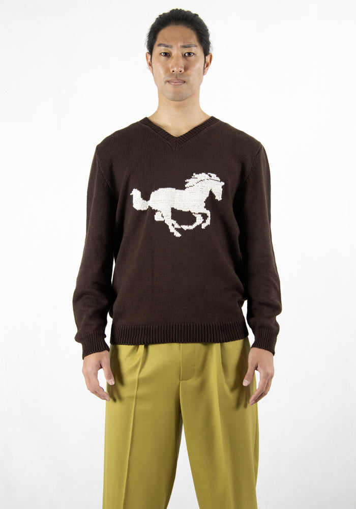 ERNEST W. BAKER KN41 SE08 EMBROIDERED HORSE SWEATER BROWN 2021SS | DOSHABURI Online Shop
