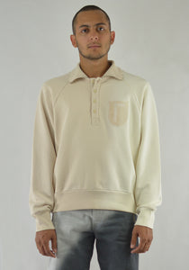 DIESEL RED TAG BY GR UNIFORMA GR02-T302 DOUBLE COLLAR SWEATSHIRT WHITE - DOSHABURI Shop