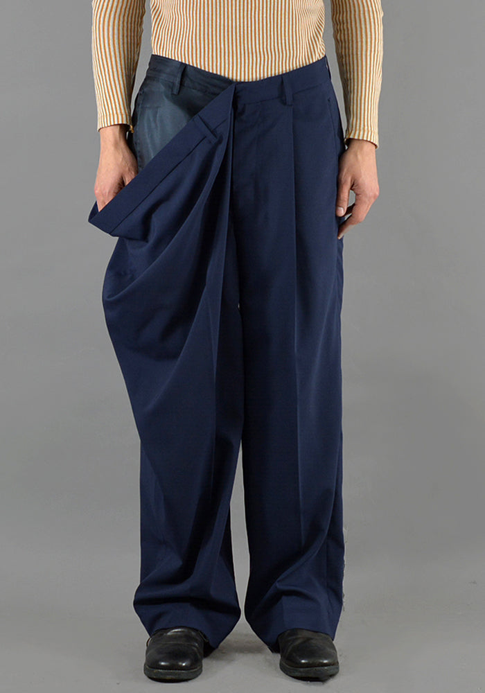 HED MAYNER HMP501-NVY OVER SIZE TROUSERS NAVY - DOSHABURI Shop