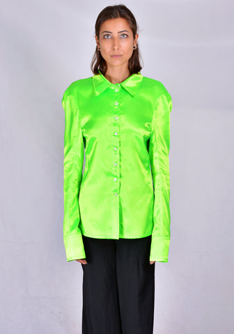 KWAIDAN EDITIONS AW20WT059W-PS TILTED SHIRT NEON GREEN 2020FW | DOSHABURI Online Shop