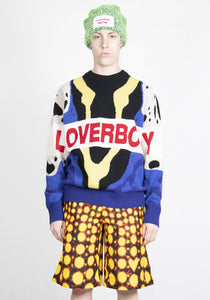 CHARLES JEFFREY LOVERBOY CJLSS21LLGJ LOGO GRAPHIC KNIT SWEATER BLUE POISON FROG
