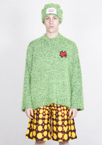 CHARLES JEFFREY LOVERBOY CJLSS21TJ TEXTURE FLUFFY KNIT SWEATER GREEN/NAVY