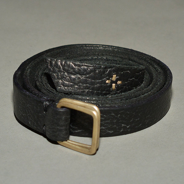 m.a+ by Maurizio Amadei DOUBLE SQUARE BUCKLE SLIM LEATHER BELT BLACK - DOSHABURI Shop