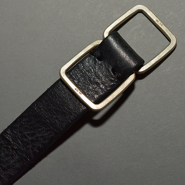 m.a+ by Maurizio Amadei DOUBLE SQUARE BUCKLE SLIM LEATHER BELT BLACK