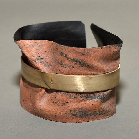 m.a+ by Maurizio Amadei SILVER BAND WIDE CUFF WITH REVERSED BLACK LEATHER - DOSHABURI Shop