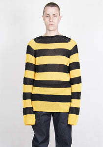 MARNI GCMG0179Q0 S17750 RGY56 ROUNDNECK STRIPE SWEATER BLACK/YELLOW SS21 | DOSHABURI Online Shop