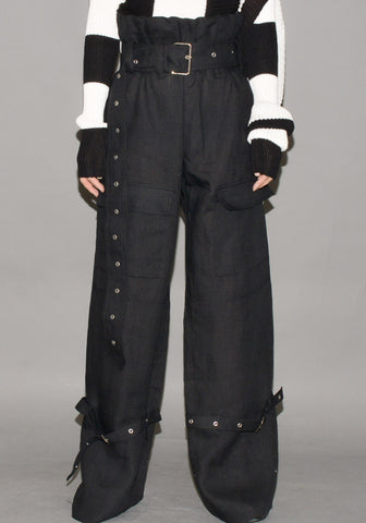 MARQUES ALMEIDA LINEN CARGO TROUSERS BLACK - DOSHABURI Shop