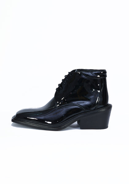 MARTINE ROSE WOMENS PATENT LEATHER ANKLE SHOES BLACK - DOSHABURI Shop