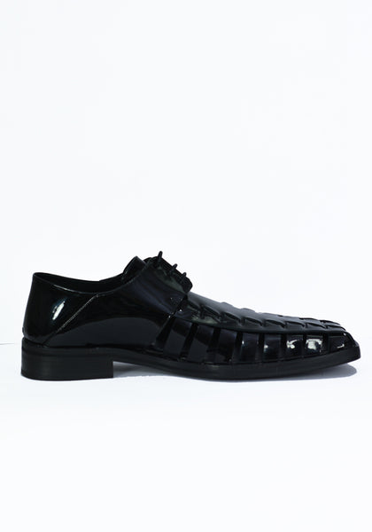 MARTINE ROSE MENS WOVEN PATENT LEATHER SHOES BLACK - DOSHABURI Shop
