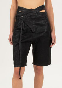 OTTOLINGER SS21PA04B SIGNATURE WRAP DENIM SHORTS BLACK 2021SS | DOSHABURI Online Shop