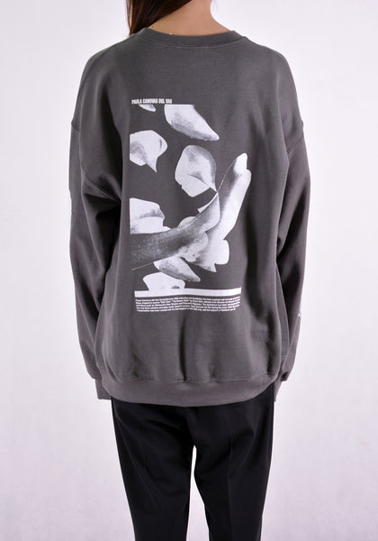 PAULA CANOVAS DEL VAS AJ003 LONG SLEEVE PRINTED SWEAT SHIRT GREY - DOSHABURI Shop