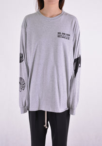 PAULA CANOVAS DEL VAS AT004 LONG SLEEVE PRINTED T-SHIRT GREY - DOSHABURI Shop