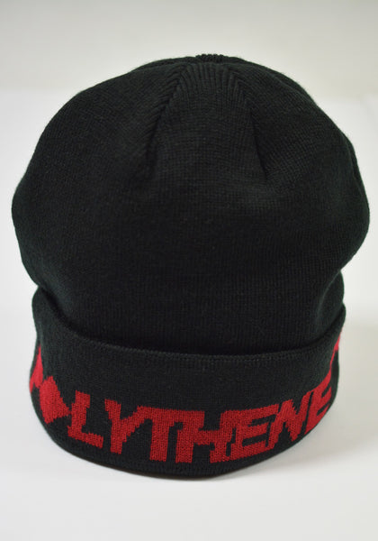 POLYTHENE* OPTICS POBE01REDB JACQUARD LOGO BEANIE HAT BLACK - DOSHABURI Shop