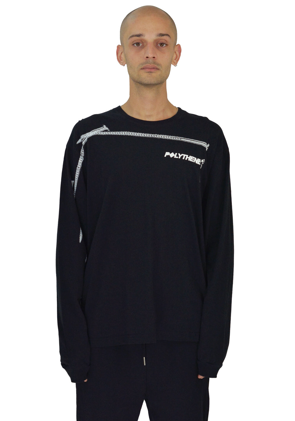 POLYTHENE* OPTICS POLS03WHTB LONG SLEEVE T-SHIRT BLACK - DOSHABURI Shop