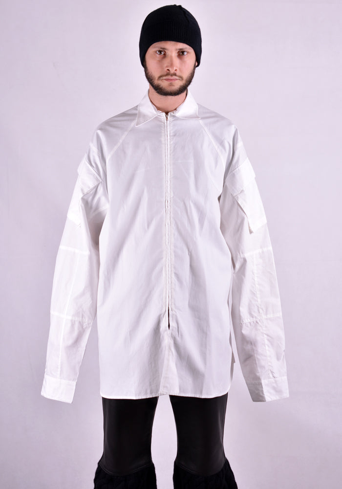 RANDOM IDENTITIES SH-21B ZIP UP CARGO POCKET SHIRT COTTON WHITE | DOSHABURI Online Shop