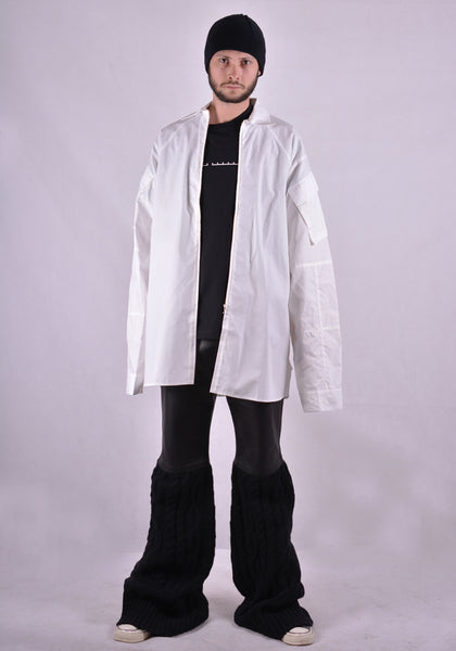 RANDOM IDENTITIES SH-21B ZIP UP CARGO POCKET SHIRT COTTON WHITE