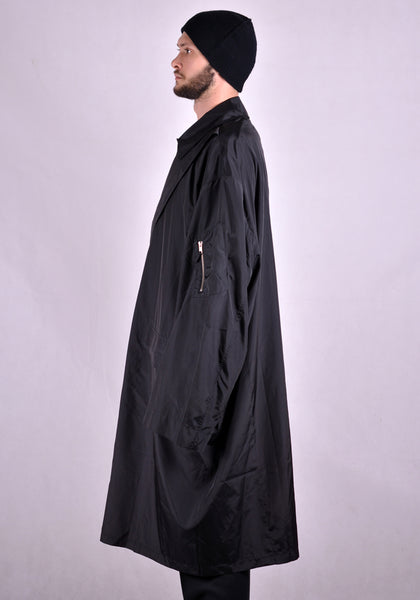 RANDOM IDENTITIES NY-04 SATIN OVERCOAT BLACK 2021SS | DOSHABURI Online Shop