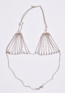 RANDOM IDENTITIES A-47 CRYSTAL BRA NECKLACE SILVER | DOSHABURI Online Shop