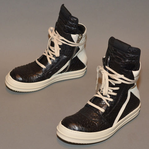 RICK OWENS PYTHON LEATHER GEOBASKET SNEAKERS BLACK/MILK - DOSHABURI Shop