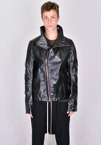 RICK OWENS RU20F3768 LGW BAUHAUS LEATHER JACKET BLACK