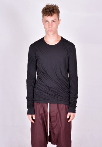RICK OWENS DOUBLE LAYERED LONG SLEEVE T-SHIRT BLACK | DOSHABURI Online